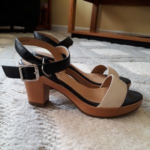 DERIMOD Shoes - Real Leather Black and White (Cream) Sandals